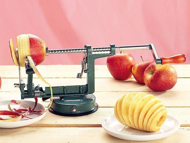 Apfelschäler Spiralform Edelstahl in grün
