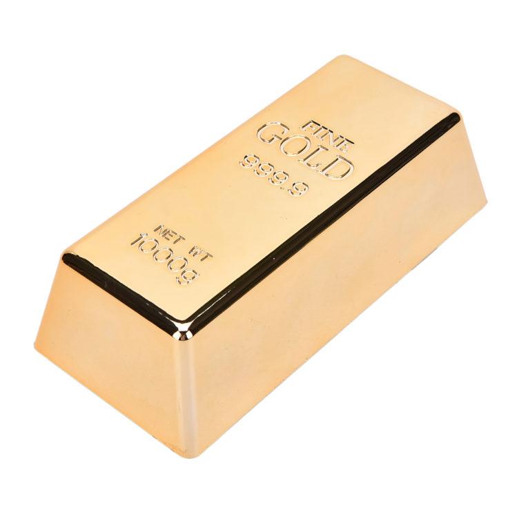 Goldbarren Türstopper von oben