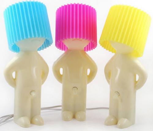 Mr. P-Lampe in blau, pink und gelb