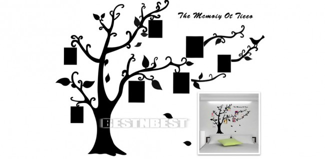 wandtattoo als baum mit eingebautem fotorahmen ab 2 58. Black Bedroom Furniture Sets. Home Design Ideas