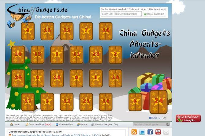China-Gadgets Adventskalender - jeden Tag neue Preise.