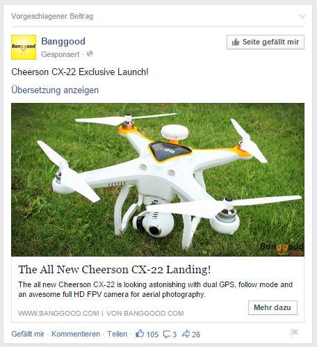 Banggood Promo auf FB