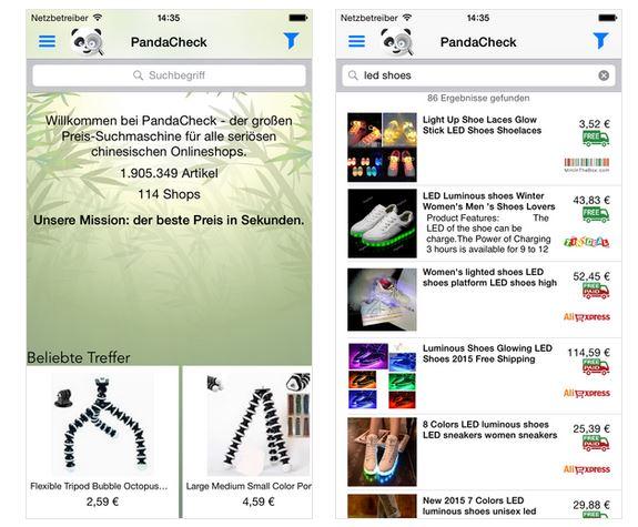 PandaCheck: auch mobil bequem den besten Preis finden