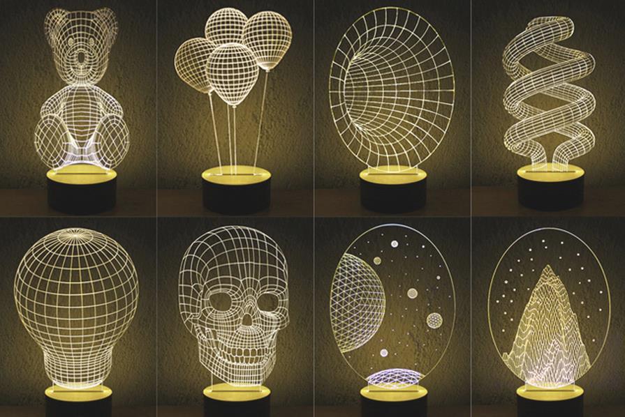 Lampen mit 3d effekt in verschiedenen formen ab 17 66 for Lampen 3d modelle