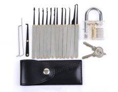 Lockpicking Set mit Schloss, Schlüssel und Tasche