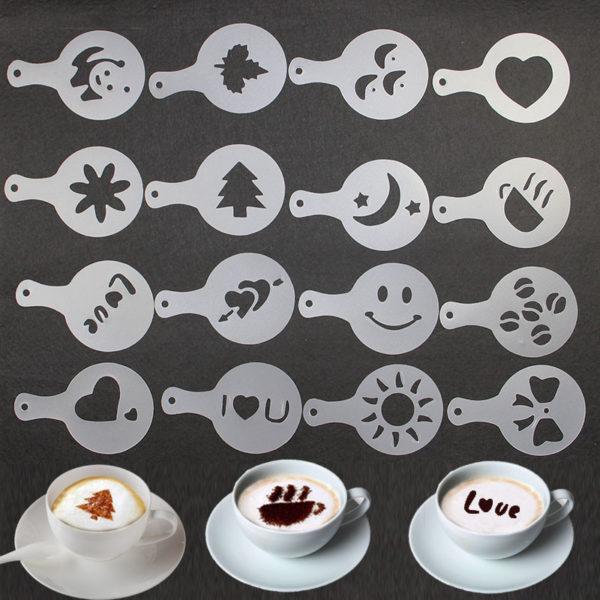 Latte Art: 16 Schablonen für Motive auf dem Kaffee-Milchschaum