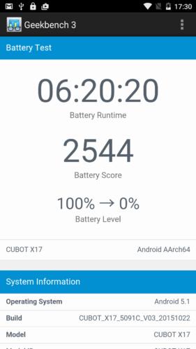 Geekbench 3 Battery Test mit gedimmtem Display