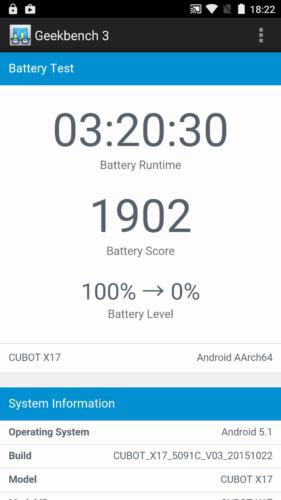 Geekbench 3 Battery Test mit ungedimmtem Display