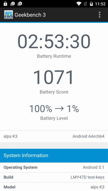 Battery-Test mit gedimmten Screen