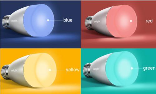 Xiaomi Yeelight Glühbirne leuchtet unter anderem in blau, rot, gelb und grün