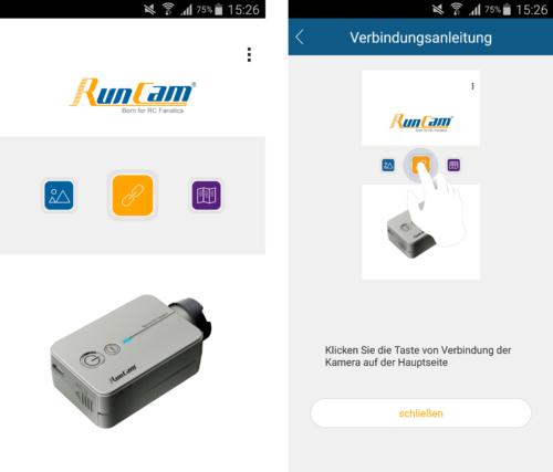 RunCam 2 Startbildschirm & Verbindungsanleitung