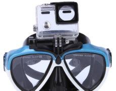 Blau Weiße Taucherbrille mit Halterung für Action Cams