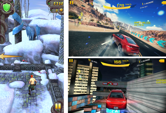 Temple Run2, Asphalt 8