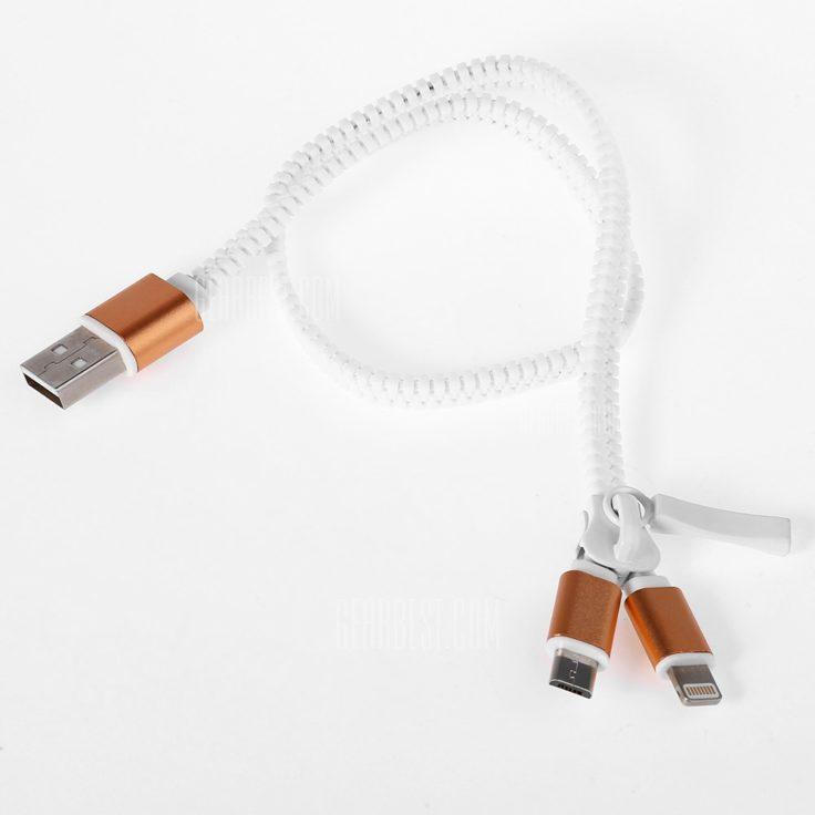 Reißverschluss Micro USB Lightning Kabel