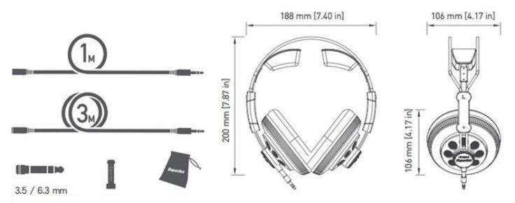 Superlux HD668B Stereo-Kopfhörer Kabel