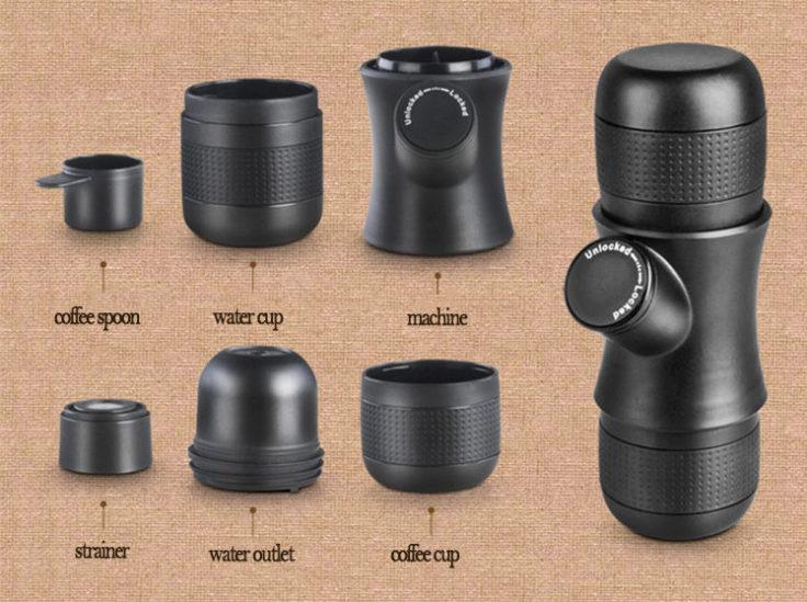 Bauteile der Honana Kaffeemaschine für Unterwegs