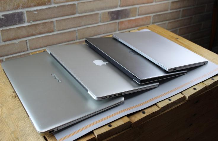 Unsere Vergleichsgeräte: Jumper, Dell, Apple und Mi Air