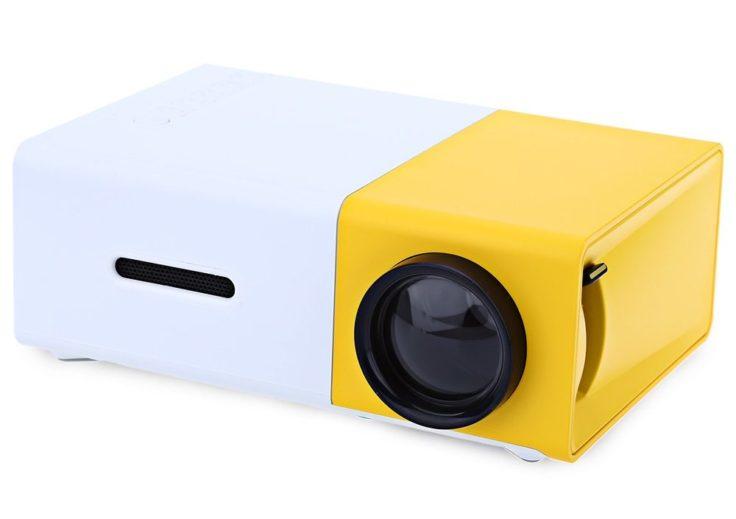YG-300 tragbare LCD-Beamer in Weiß/Gelb.