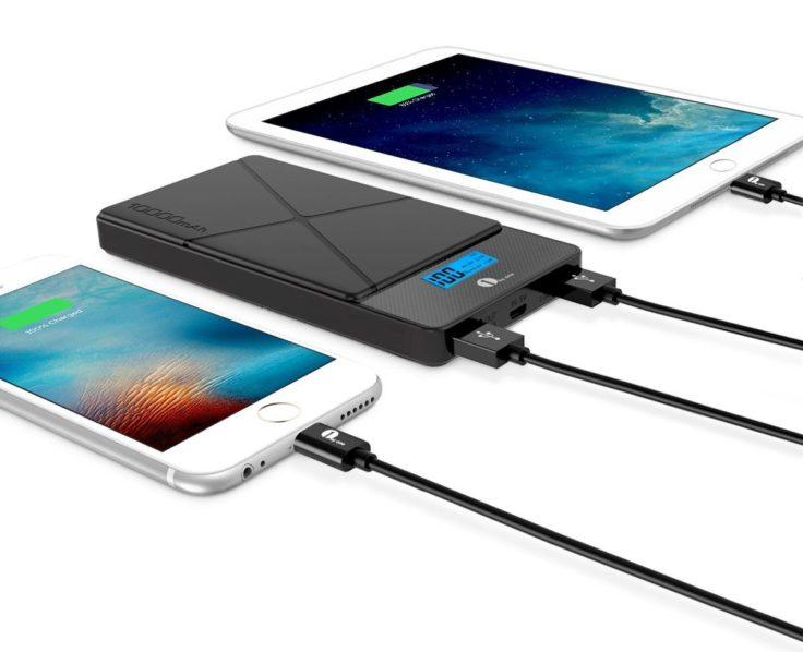 1byone Powerbank 10000 mAh im Einsatz mit zwei iPhones