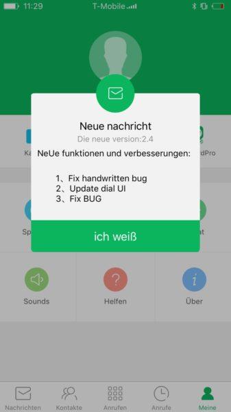 Die App ist nicht besonders gut übersetzt