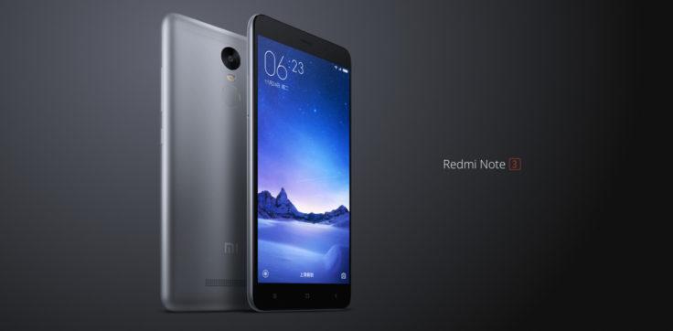 Xiaomi Redmi Note 3 Pro Smartphone auf schwarzem Grund