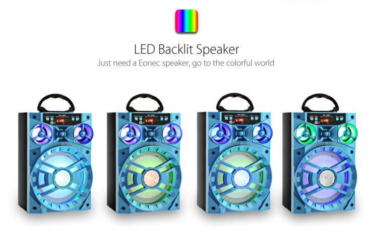 Eonic MS-188BT Bluetooth Lautsprecher LEDs