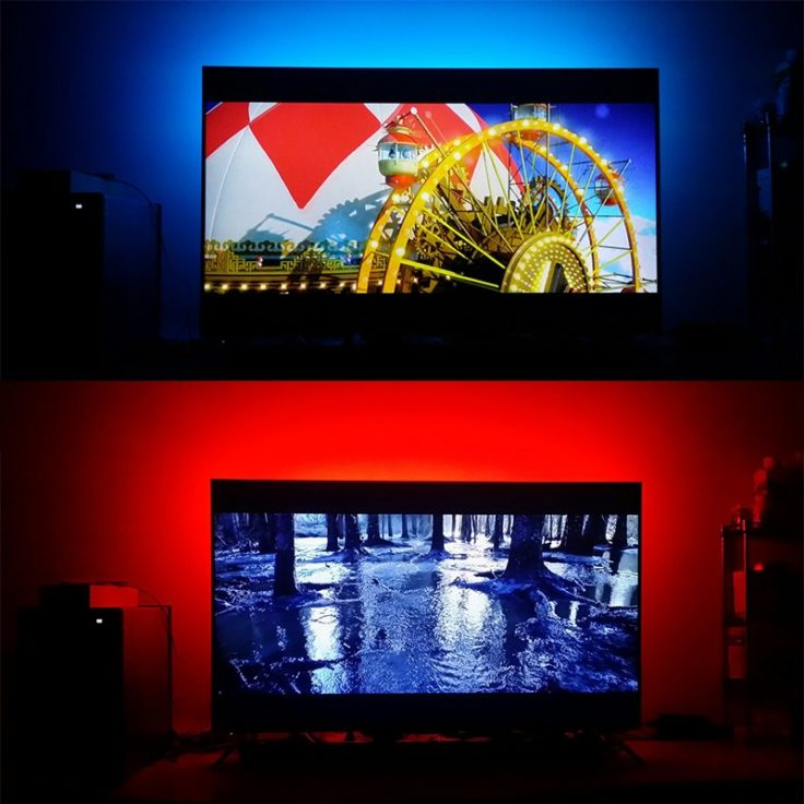 1 Meter LED-Strips als Hintergrundbeleuchtung