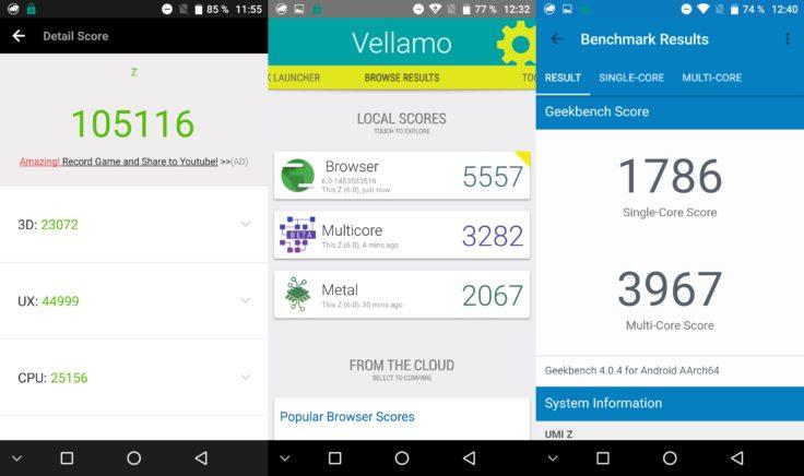 Umi Z Smartphone Benchmarktestergebnisse