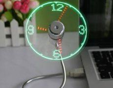 USB Ventilator mit grün - roter LED Uhr