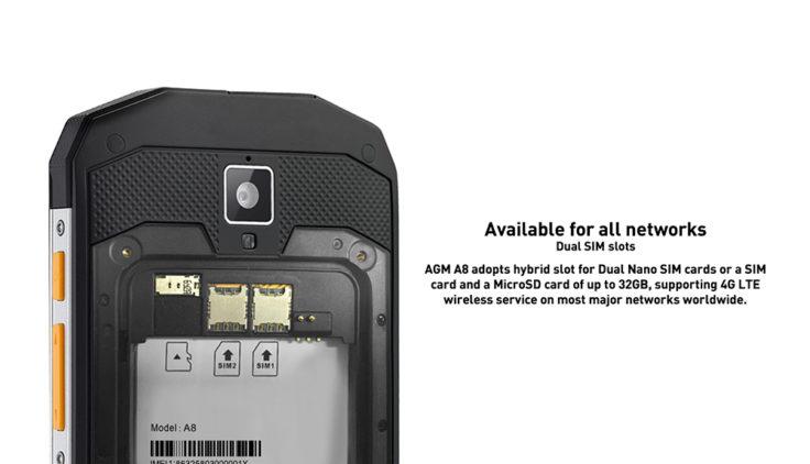 wasserdichtes AGM A8 Outdoor Smartphone Dual SIM