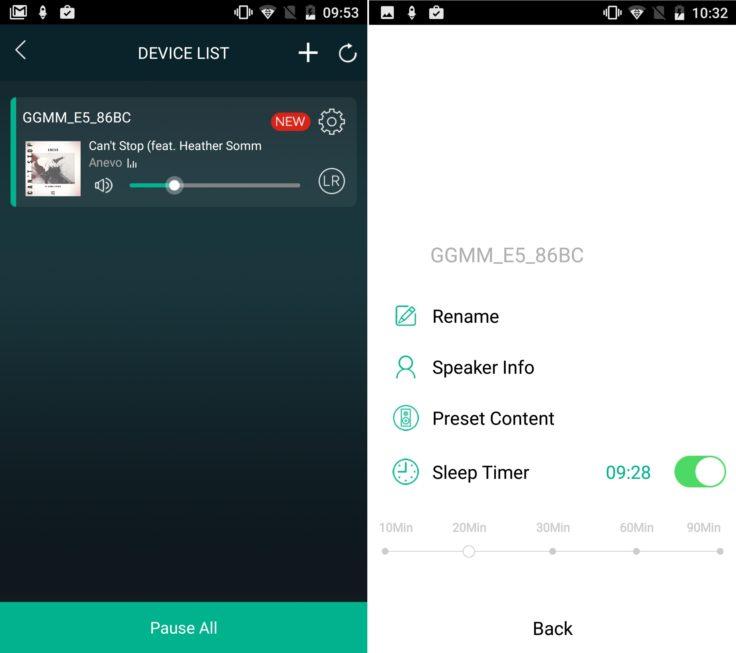 GGMM E5 Geräteübersicht Android