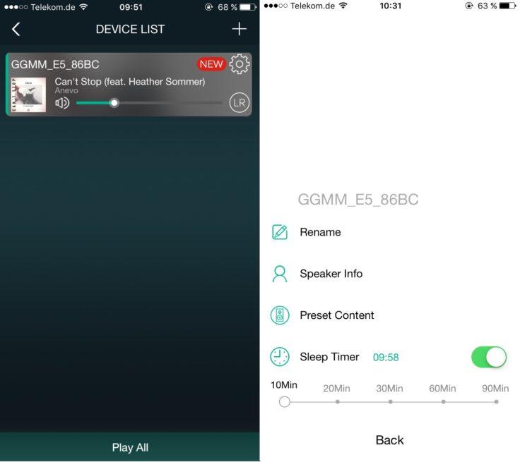 GGMM E5 Geräteübersicht iOS