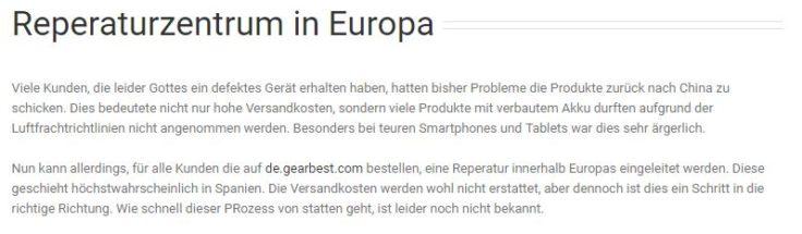 GearBest Deutschland Reparaturzentrum Spanien