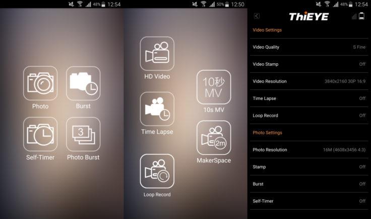 ThiEYE T5e App Einstellungen