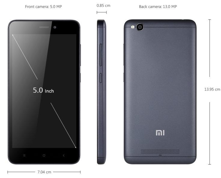 Xiaomi Redmi 4A Maße