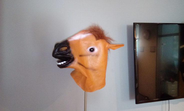 Pferdemaske auf Lampe mit Blitz fotografiert