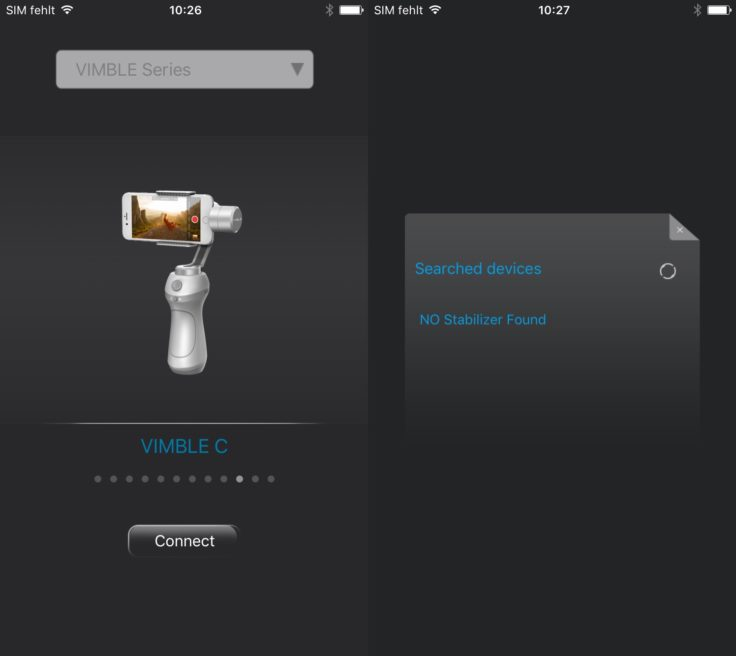FeiyuTech Vimble C Gimbal App Feiyu ON iOS