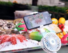 Selfie Stick mit integriertem Ventilator