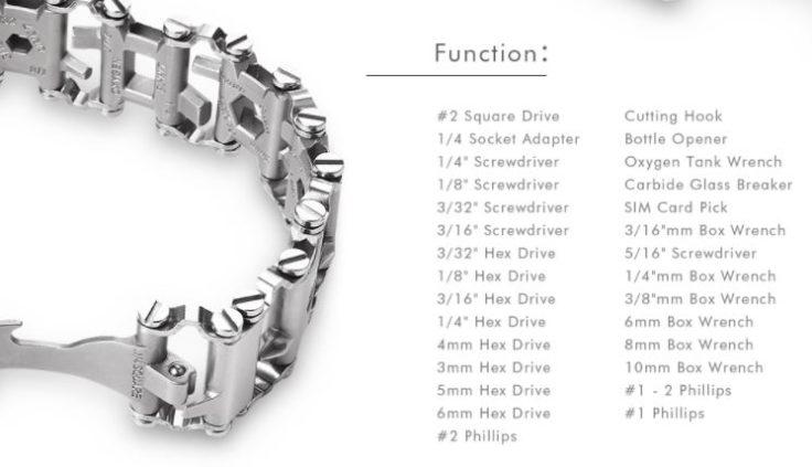 29-in-1 Werkzeug-Armband Funktionen