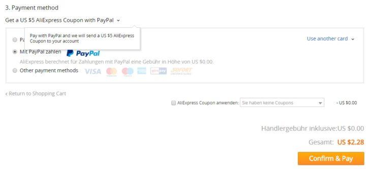 AliExpress Paypal Kasse