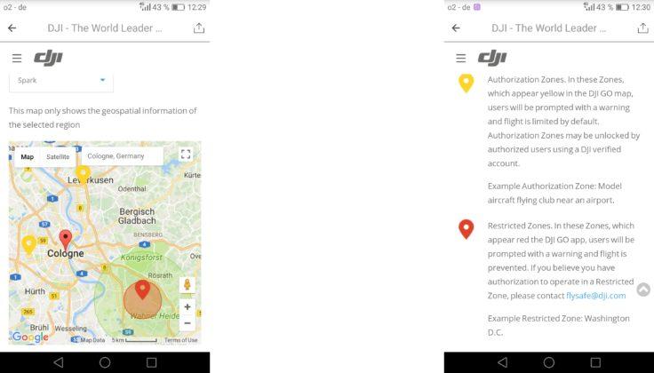 DJI Spark DJI GO 4 App GPS Flugverbotszonen