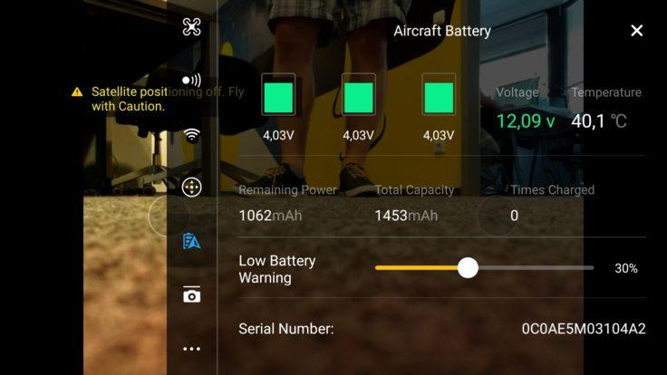 DJI Spark DJI GO 4 App Interface Optionen