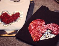 Pailletten T Shirts mit Herz