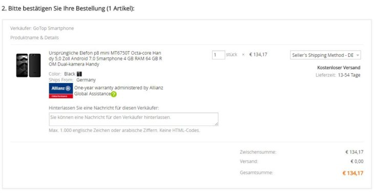 Screenshot Bestellvorgang AliExpress mit Allianz Versicherung