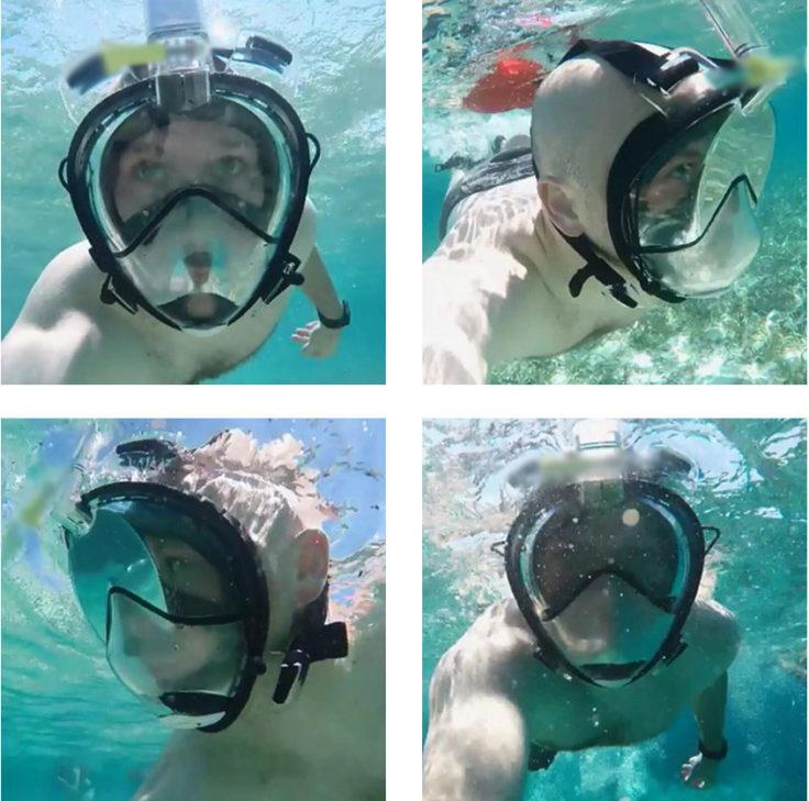 Tauchmaske mit Schnorchel im Einsatz Unterwasser