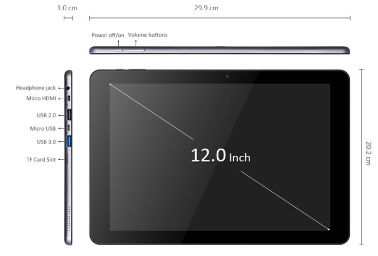 Alle Anschlüsse des CHUWI Hi12 Windows-Tablet