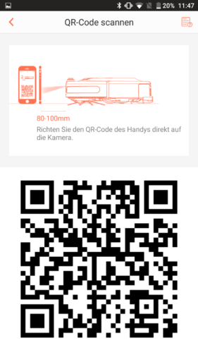 Haier XShuai Saugroboter App QR-Code Scan