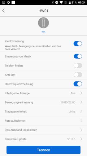 Lenovo HW01 Fitness Tracker App Einstellungen