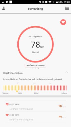 Lenovo HW01 Fitness Tracker App Herzfrequenzmesser