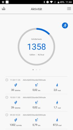 Lenovo HW01 Fitness Tracker App Schrittzähler